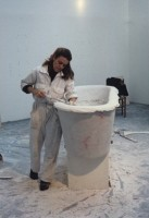 Ann working in plaster at her studio, American Academy in Rome